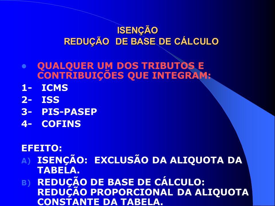 ISENÇÃO REDUÇÃO DE BASE DE CÁLCULO QUALQUER UM DOS TRIBUTOS E CONTRIBUIÇÕES QUE INTEGRAM: 1- ICMS 2- ISS 3- PIS-PASEP 4- COFINS EFEITO: A) ISENÇÃO: EX