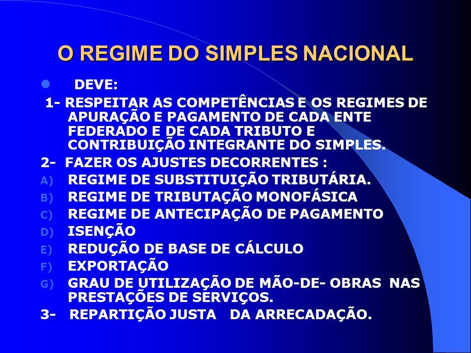 O REGIME DO SIMPLES NACIONAL DEVE: 1- RESPEITAR AS COMPETÊNCIAS E OS REGIMES DE APURAÇÃO E PAGAMENTO DE CADA ENTE FEDERADO E DE CADA TRIBUTO E CONTRIB