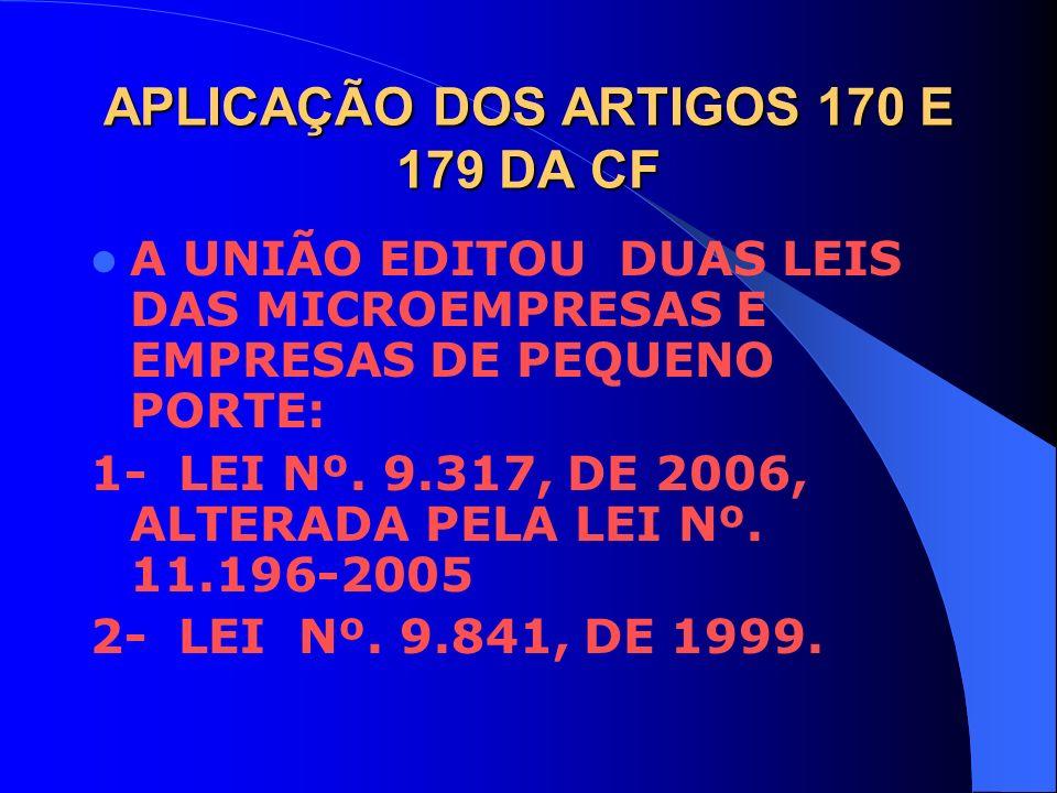 APLICAÇÃO DOS ARTIGOS 170 E 179 DA CF A UNIÃO EDITOU DUAS LEIS DAS MICROEMPRESAS E EMPRESAS DE PEQUENO PORTE: 1- LEI Nº. 9.317, DE 2006, ALTERADA PELA