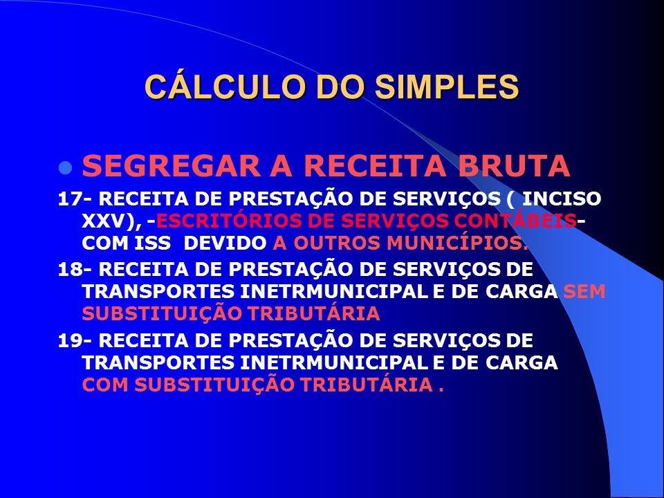 CÁLCULO DO SIMPLES SEGREGAR A RECEITA BRUTA 17- RECEITA DE PRESTAÇÃO DE SERVIÇOS ( INCISO XXV), -ESCRITÓRIOS DE SERVIÇOS CONTÁBEIS- COM ISS DEVIDO A O