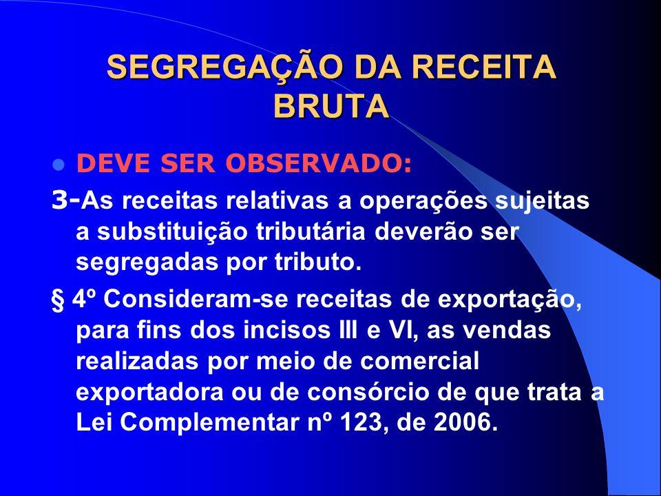 SEGREGAÇÃO DA RECEITA BRUTA DEVE SER OBSERVADO: 3- As receitas relativas a operações sujeitas a substituição tributária deverão ser segregadas por tri