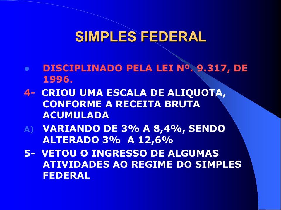 SIMPLES FEDERAL DISCIPLINADO PELA LEI Nº. 9.317, DE 1996. 4- CRIOU UMA ESCALA DE ALIQUOTA, CONFORME A RECEITA BRUTA ACUMULADA A) VARIANDO DE 3% A 8,4%