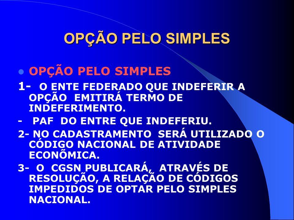 OPÇÃO PELO SIMPLES 1- O ENTE FEDERADO QUE INDEFERIR A OPÇÃO EMITIRÁ TERMO DE INDEFERIMENTO. - PAF DO ENTRE QUE INDEFERIU. 2- NO CADASTRAMENTO SERÁ UTI