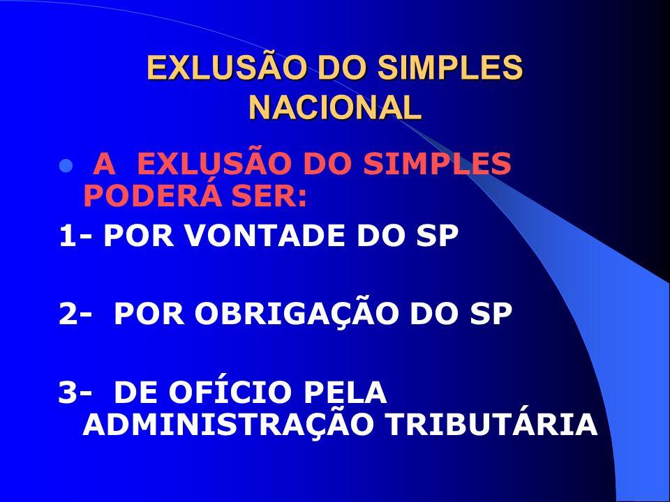 EXLUSÃO DO SIMPLES NACIONAL A EXLUSÃO DO SIMPLES PODERÁ SER: 1- POR VONTADE DO SP 2- POR OBRIGAÇÃO DO SP 3- DE OFÍCIO PELA ADMINISTRAÇÃO TRIBUTÁRIA