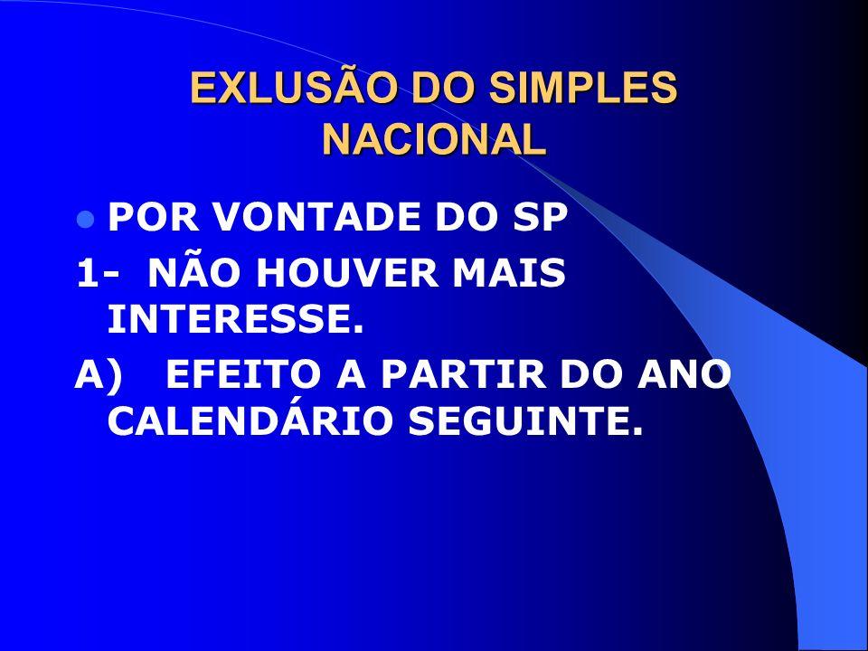 EXLUSÃO DO SIMPLES NACIONAL POR VONTADE DO SP 1- NÃO HOUVER MAIS INTERESSE. A) EFEITO A PARTIR DO ANO CALENDÁRIO SEGUINTE.