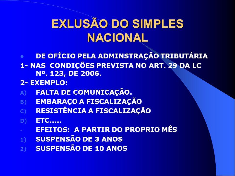 EXLUSÃO DO SIMPLES NACIONAL DE OFÍCIO PELA ADMINSTRAÇÃO TRIBUTÁRIA 1- NAS CONDIÇÕES PREVISTA NO ART. 29 DA LC Nº. 123, DE 2006. 2- EXEMPLO: A) FALTA D