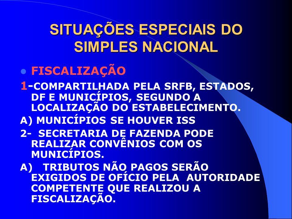 SITUAÇÕES ESPECIAIS DO SIMPLES NACIONAL FISCALIZAÇÃO 1- COMPARTILHADA PELA SRFB, ESTADOS, DF E MUNICÍPIOS, SEGUNDO A LOCALIZAÇÃO DO ESTABELECIMENTO. A
