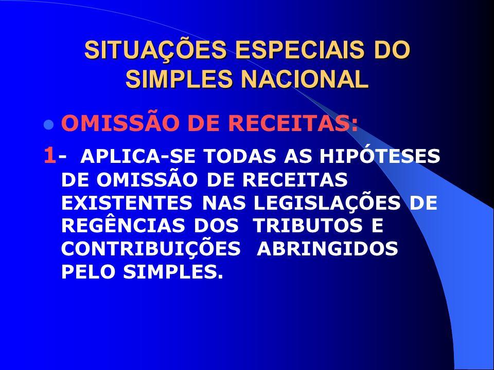 SITUAÇÕES ESPECIAIS DO SIMPLES NACIONAL OMISSÃO DE RECEITAS: 1 - APLICA-SE TODAS AS HIPÓTESES DE OMISSÃO DE RECEITAS EXISTENTES NAS LEGISLAÇÕES DE REG