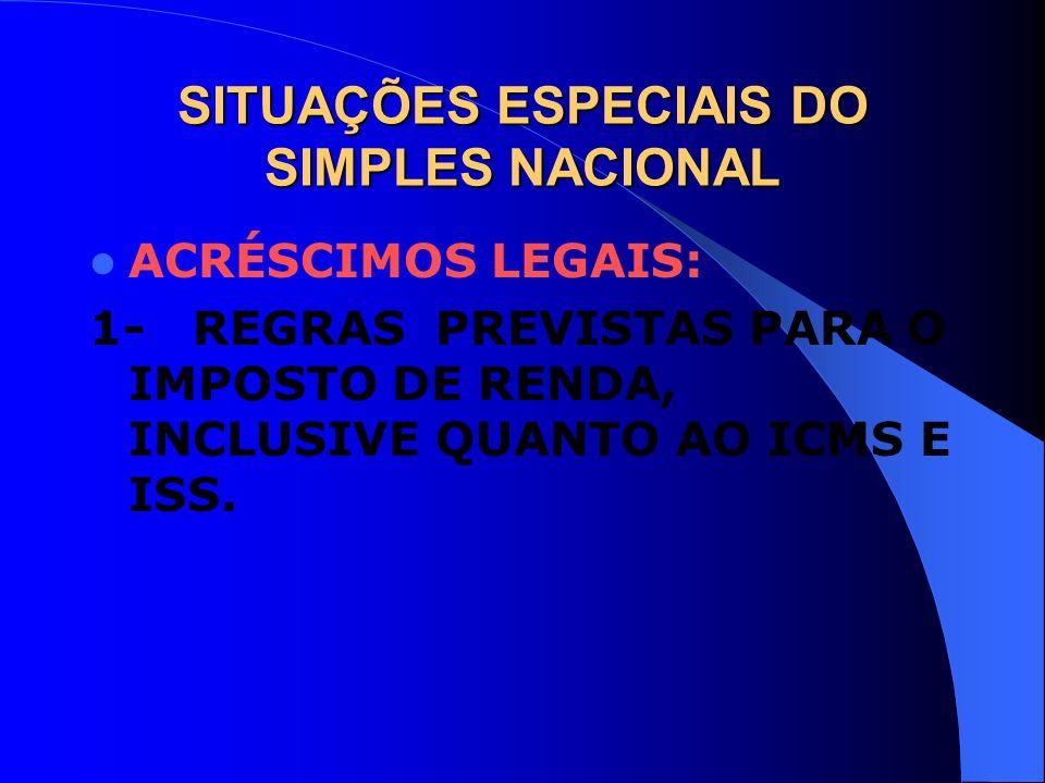 SITUAÇÕES ESPECIAIS DO SIMPLES NACIONAL ACRÉSCIMOS LEGAIS: 1- REGRAS PREVISTAS PARA O IMPOSTO DE RENDA, INCLUSIVE QUANTO AO ICMS E ISS.