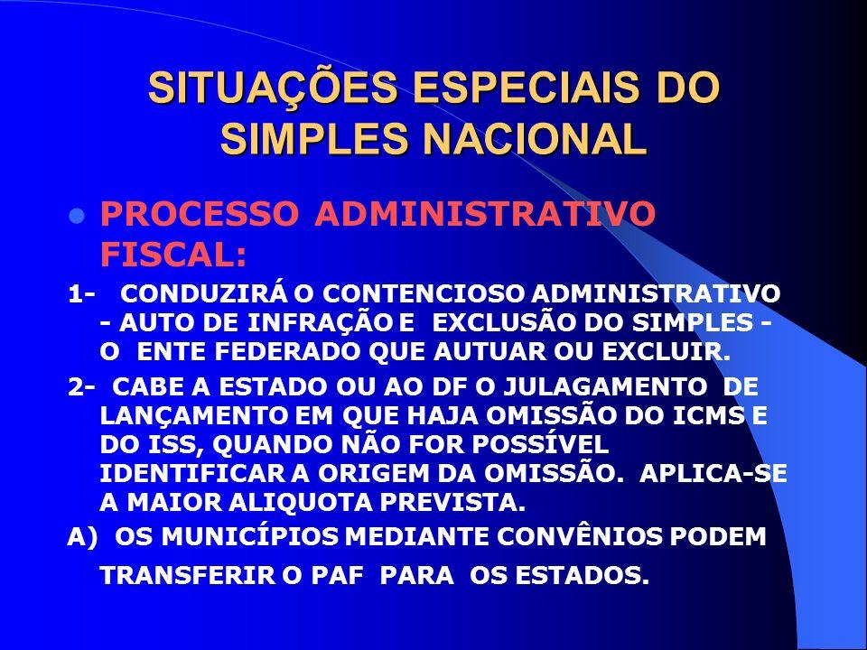 SITUAÇÕES ESPECIAIS DO SIMPLES NACIONAL PROCESSO ADMINISTRATIVO FISCAL: 1- CONDUZIRÁ O CONTENCIOSO ADMINISTRATIVO - AUTO DE INFRAÇÃO E EXCLUSÃO DO SIM
