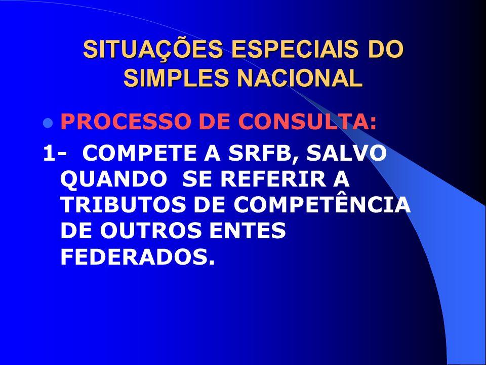 SITUAÇÕES ESPECIAIS DO SIMPLES NACIONAL PROCESSO DE CONSULTA: 1- COMPETE A SRFB, SALVO QUANDO SE REFERIR A TRIBUTOS DE COMPETÊNCIA DE OUTROS ENTES FED