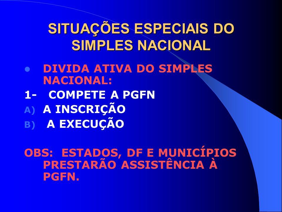 SITUAÇÕES ESPECIAIS DO SIMPLES NACIONAL DIVIDA ATIVA DO SIMPLES NACIONAL: 1- COMPETE A PGFN A) A INSCRIÇÃO B) A EXECUÇÃO OBS: ESTADOS, DF E MUNICÍPIOS