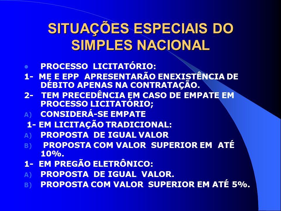 SITUAÇÕES ESPECIAIS DO SIMPLES NACIONAL PROCESSO LICITATÓRIO: 1- ME E EPP APRESENTARÃO ENEXISTÊNCIA DE DÉBITO APENAS NA CONTRATAÇÃO. 2- TEM PRECEDÊNCI