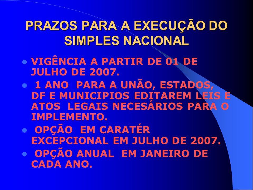 PRAZOS PARA A EXECUÇÃO DO SIMPLES NACIONAL VIGÊNCIA A PARTIR DE 01 DE JULHO DE 2007. 1 ANO PARA A UNÃO, ESTADOS, DF E MUNICIPIOS EDITAREM LEIS E ATOS