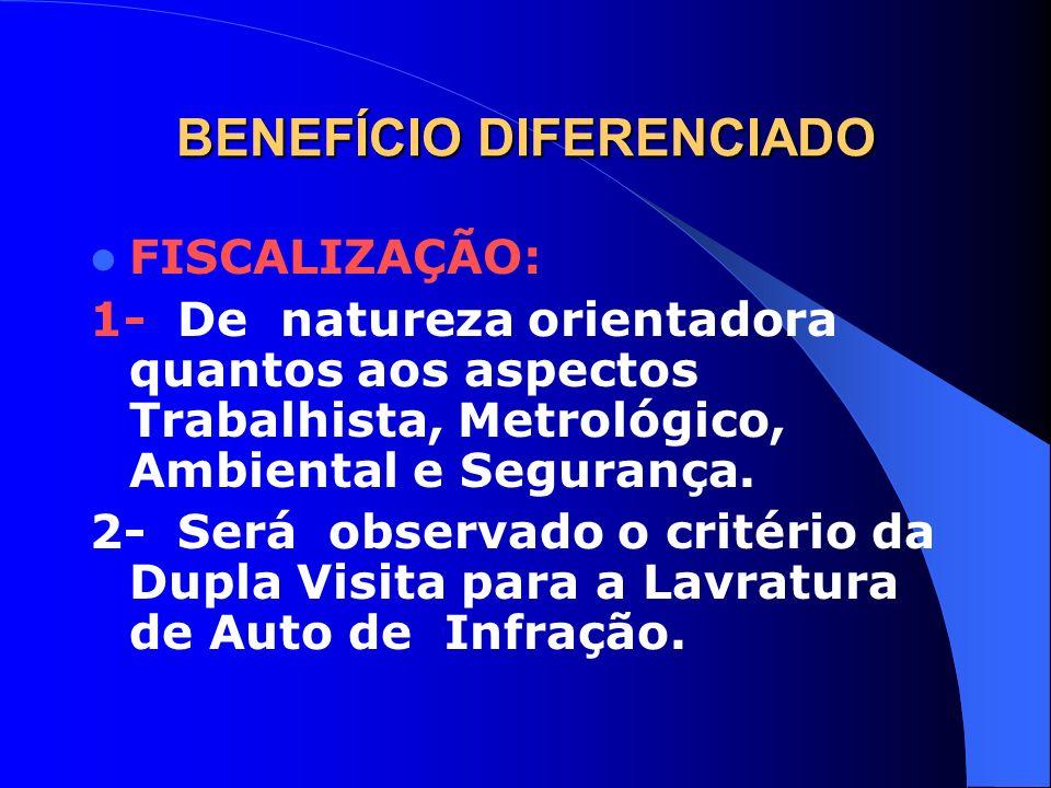 BENEFÍCIO DIFERENCIADO FISCALIZAÇÃO: 1- De natureza orientadora quantos aos aspectos Trabalhista, Metrológico, Ambiental e Segurança. 2- Será observad
