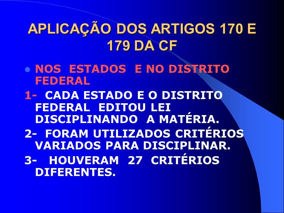 APLICAÇÃO DOS ARTIGOS 170 E 179 DA CF NOS ESTADOS E NO DISTRITO FEDERAL 1- CADA ESTADO E O DISTRITO FEDERAL EDITOU LEI DISCIPLINANDO A MATÉRIA. 2- FOR