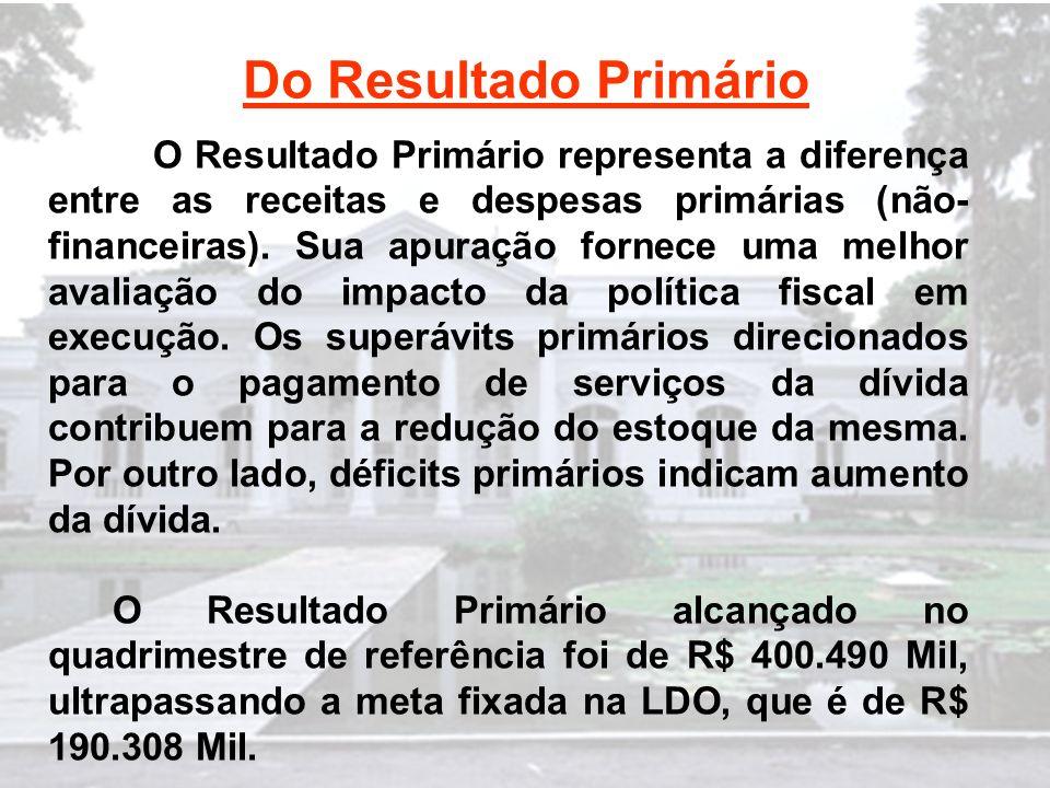 Do Resultado Primário O Resultado Primário representa a diferença entre as receitas e despesas primárias (não- financeiras).
