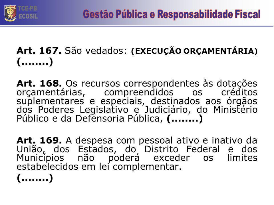 Art.167. São vedados: (EXECUÇÃO ORÇAMENTÁRIA) (........) Art.
