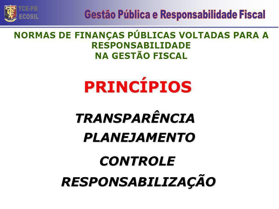 PRINCÍPIOS PLANEJAMENTO TRANSPARÊNCIA CONTROLE RESPONSABILIZAÇÃO NORMAS DE FINANÇAS PÚBLICAS VOLTADAS PARA A RESPONSABILIDADE NA GESTÃO FISCAL