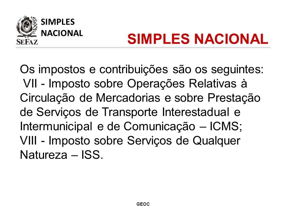 Os impostos e contribuições são os seguintes: VII - Imposto sobre Operações Relativas à Circulação de Mercadorias e sobre Prestação de Serviços de Transporte Interestadual e Intermunicipal e de Comunicação – ICMS; VIII - Imposto sobre Serviços de Qualquer Natureza – ISS.