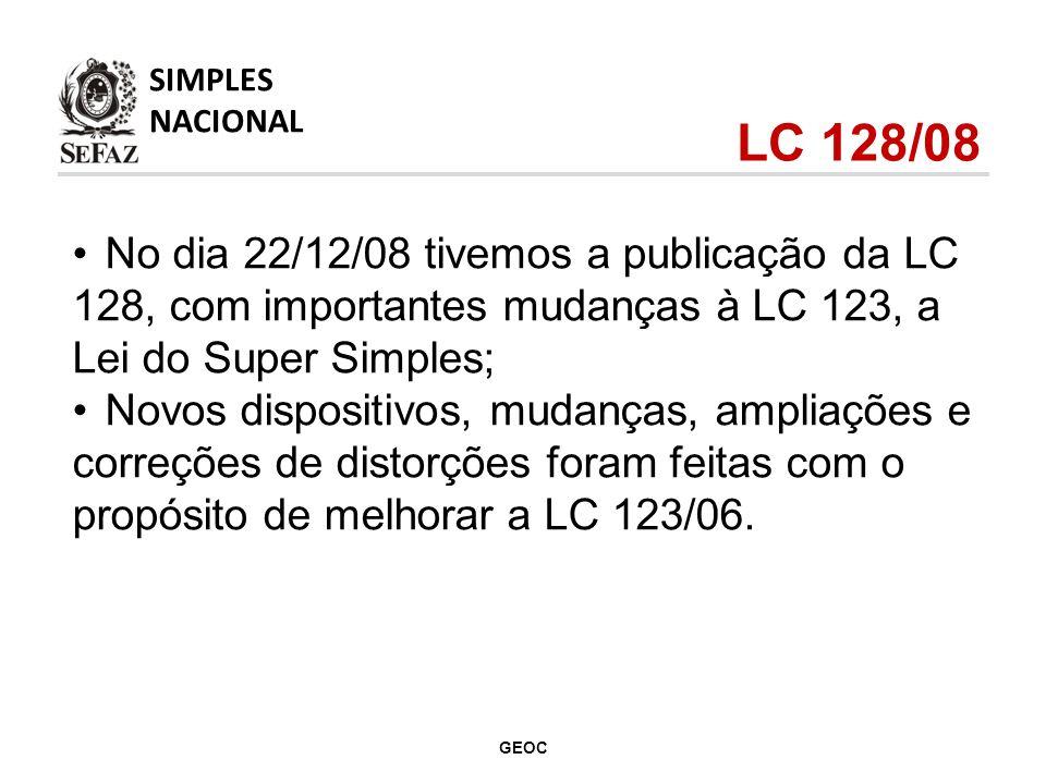 No dia 22/12/08 tivemos a publicação da LC 128, com importantes mudanças à LC 123, a Lei do Super Simples; Novos dispositivos, mudanças, ampliações e correções de distorções foram feitas com o propósito de melhorar a LC 123/06.