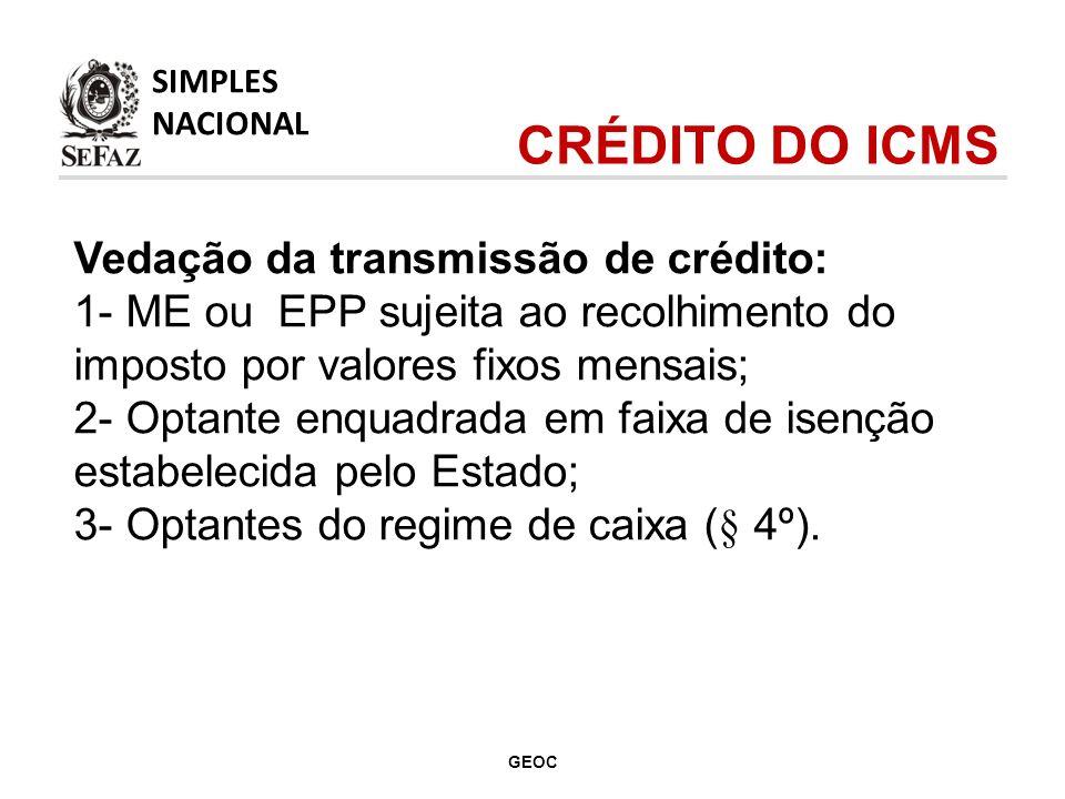 Vedação da transmissão de crédito: 1- ME ou EPP sujeita ao recolhimento do imposto por valores fixos mensais; 2- Optante enquadrada em faixa de isenção estabelecida pelo Estado; 3- Optantes do regime de caixa (§ 4º).