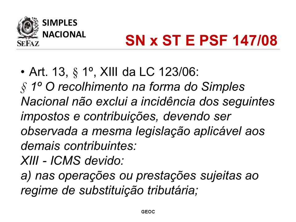 Art. 13, § 1º, XIII da LC 123/06: § 1º O recolhimento na forma do Simples Nacional não exclui a incidência dos seguintes impostos e contribuições, dev
