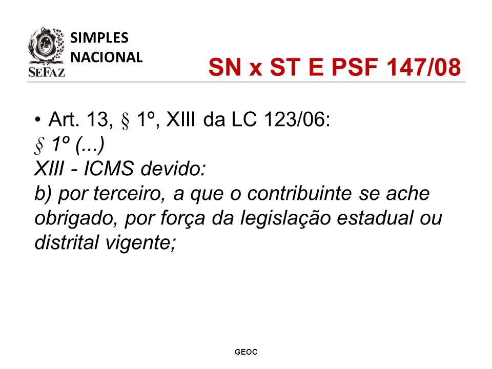 Art. 13, § 1º, XIII da LC 123/06: § 1º (...) XIII - ICMS devido: b) por terceiro, a que o contribuinte se ache obrigado, por força da legislação estad