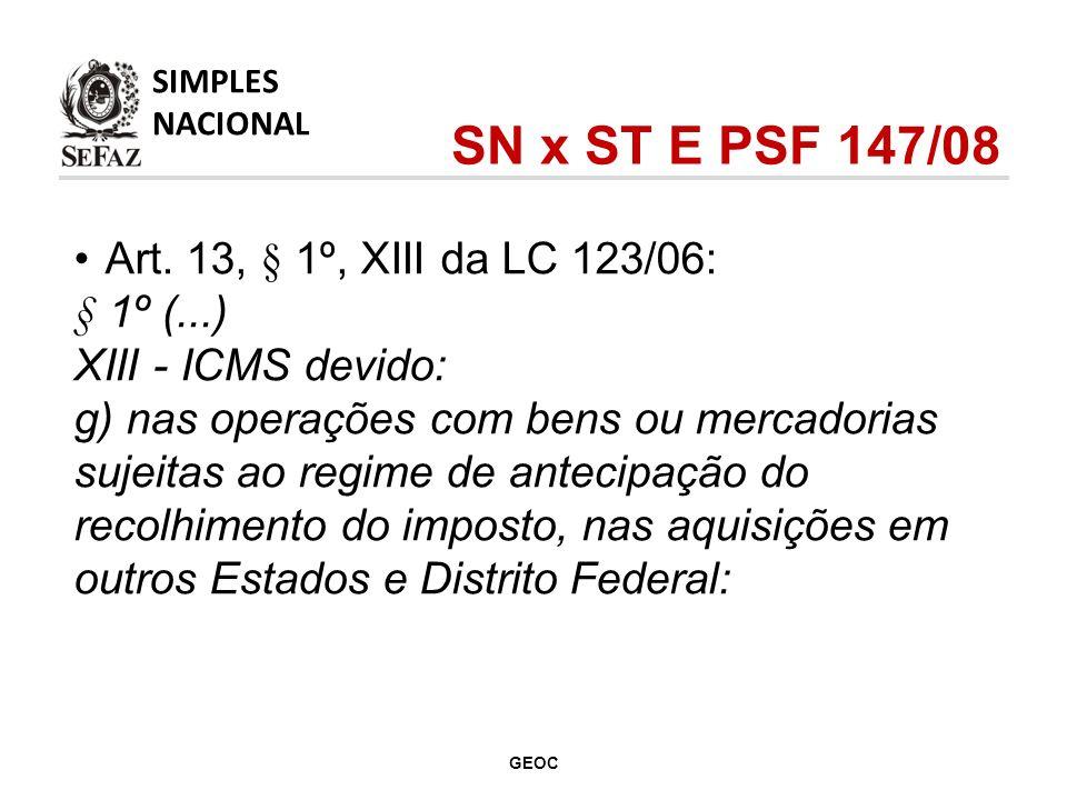 Art. 13, § 1º, XIII da LC 123/06: § 1º (...) XIII - ICMS devido: g) nas operações com bens ou mercadorias sujeitas ao regime de antecipação do recolhi