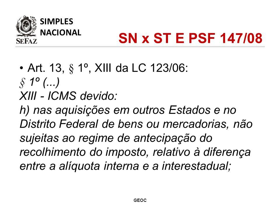 Art. 13, § 1º, XIII da LC 123/06: § 1º (...) XIII - ICMS devido: h) nas aquisições em outros Estados e no Distrito Federal de bens ou mercadorias, não