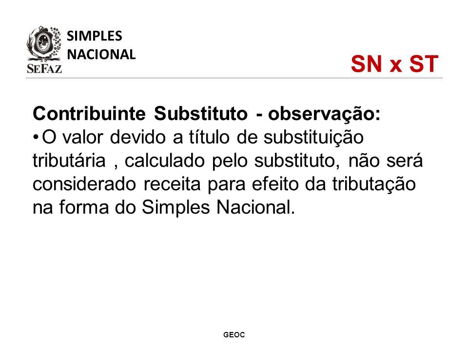 Contribuinte Substituto - observação: O valor devido a título de substituição tributária, calculado pelo substituto, não será considerado receita para efeito da tributação na forma do Simples Nacional.