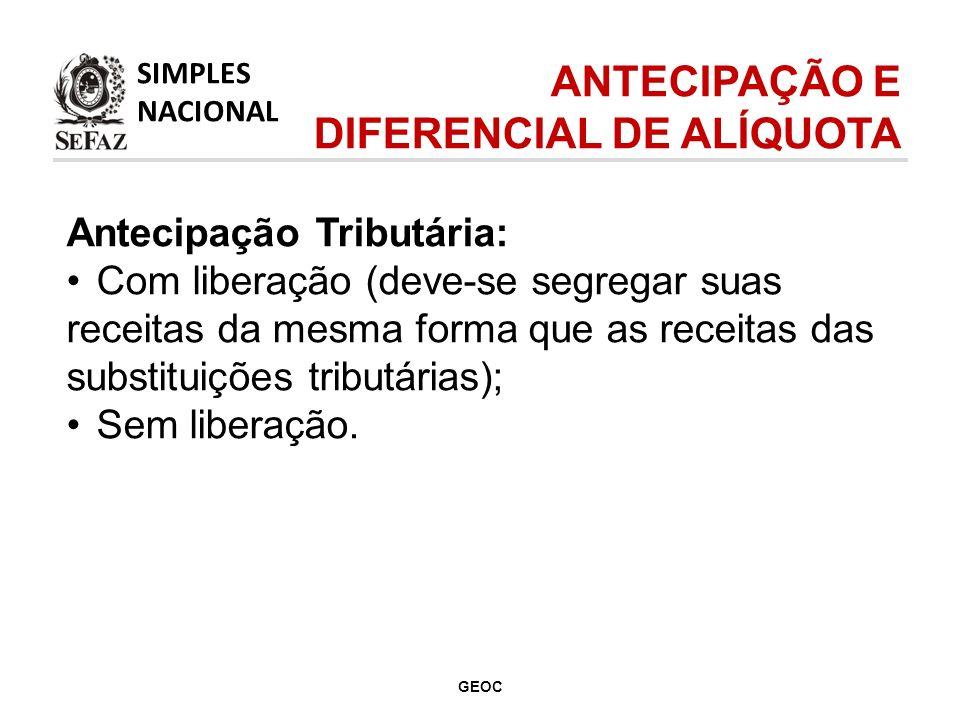 Antecipação Tributária: Com liberação (deve-se segregar suas receitas da mesma forma que as receitas das substituições tributárias); Sem liberação.