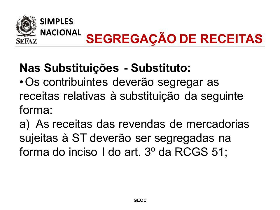 Nas Substituições - Substituto: Os contribuintes deverão segregar as receitas relativas à substituição da seguinte forma: a) As receitas das revendas de mercadorias sujeitas à ST deverão ser segregadas na forma do inciso I do art.