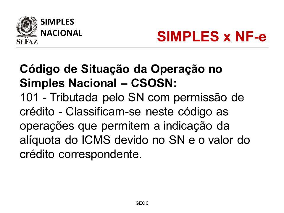Código de Situação da Operação no Simples Nacional – CSOSN: 101 - Tributada pelo SN com permissão de crédito - Classificam-se neste código as operações que permitem a indicação da alíquota do ICMS devido no SN e o valor do crédito correspondente.