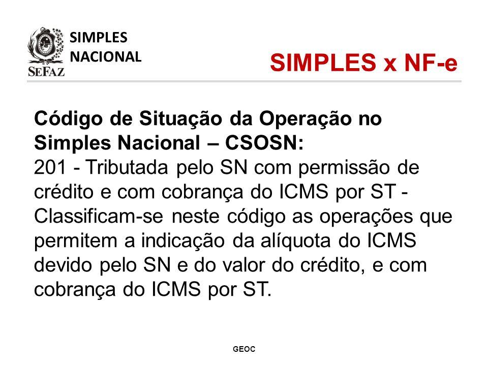 Código de Situação da Operação no Simples Nacional – CSOSN: 201 - Tributada pelo SN com permissão de crédito e com cobrança do ICMS por ST - Classificam-se neste código as operações que permitem a indicação da alíquota do ICMS devido pelo SN e do valor do crédito, e com cobrança do ICMS por ST.