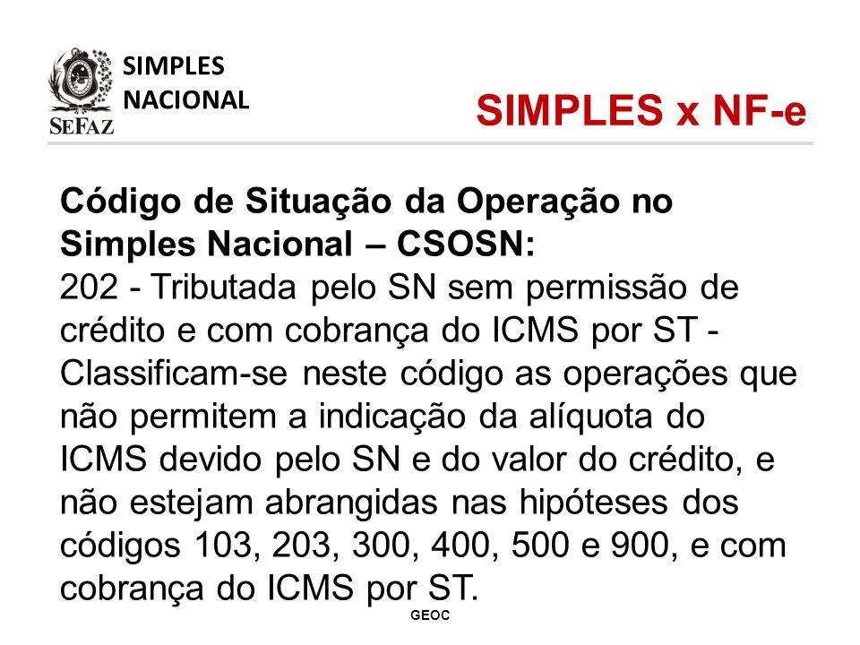 Código de Situação da Operação no Simples Nacional – CSOSN: 202 - Tributada pelo SN sem permissão de crédito e com cobrança do ICMS por ST - Classificam-se neste código as operações que não permitem a indicação da alíquota do ICMS devido pelo SN e do valor do crédito, e não estejam abrangidas nas hipóteses dos códigos 103, 203, 300, 400, 500 e 900, e com cobrança do ICMS por ST.