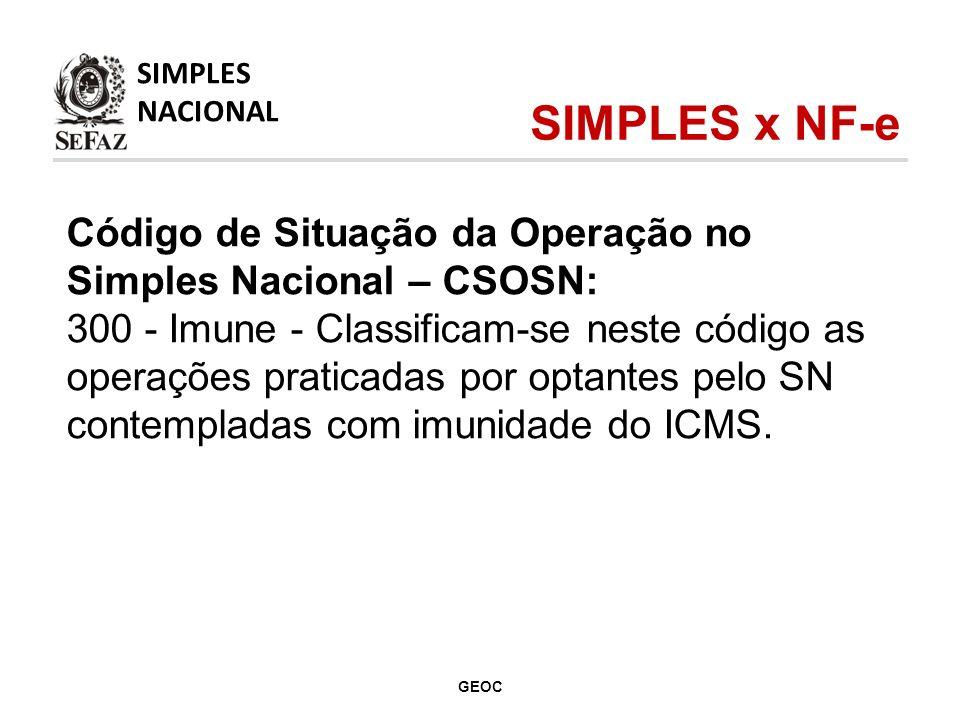 Código de Situação da Operação no Simples Nacional – CSOSN: 300 - Imune - Classificam-se neste código as operações praticadas por optantes pelo SN contempladas com imunidade do ICMS.