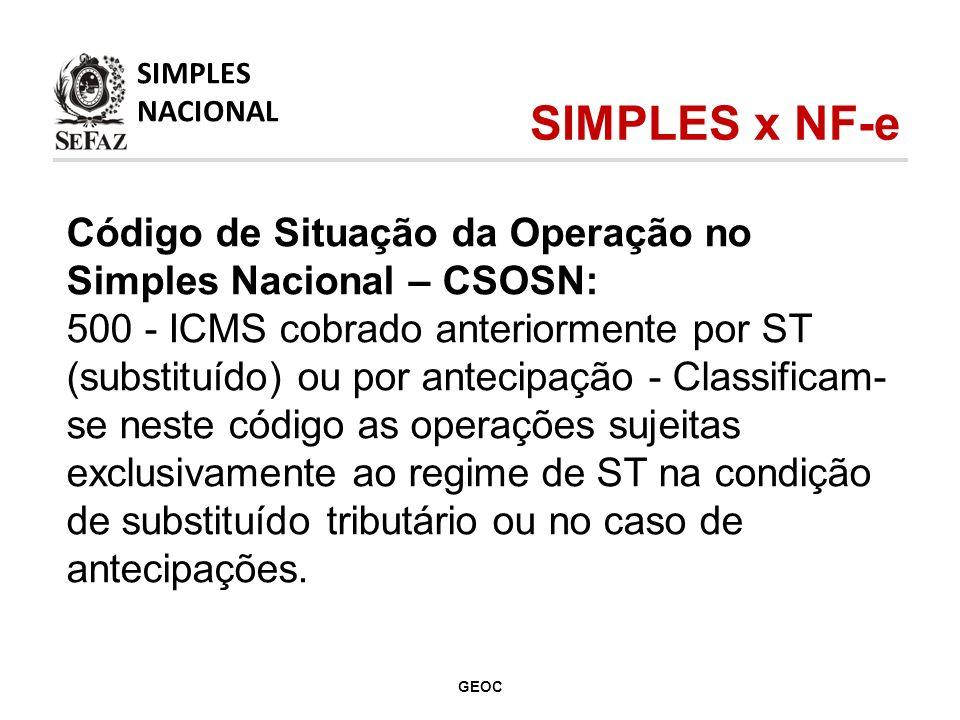 Código de Situação da Operação no Simples Nacional – CSOSN: 500 - ICMS cobrado anteriormente por ST (substituído) ou por antecipação - Classificam- se neste código as operações sujeitas exclusivamente ao regime de ST na condição de substituído tributário ou no caso de antecipações.
