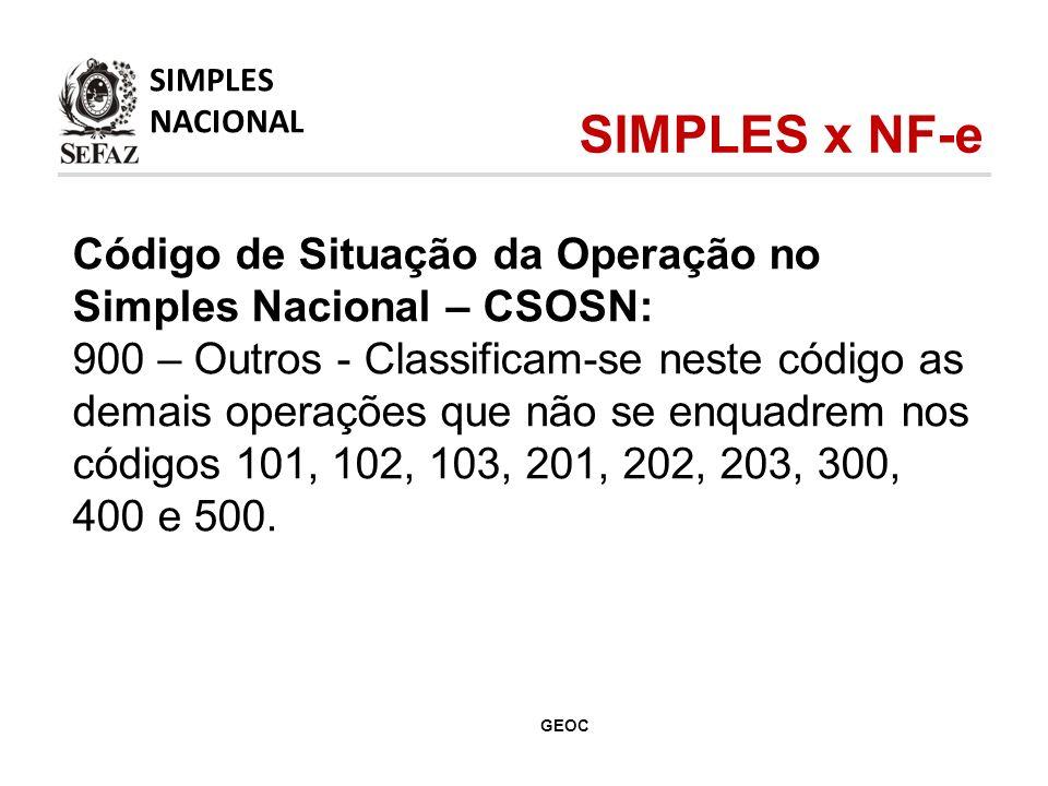 Código de Situação da Operação no Simples Nacional – CSOSN: 900 – Outros - Classificam-se neste código as demais operações que não se enquadrem nos códigos 101, 102, 103, 201, 202, 203, 300, 400 e 500.