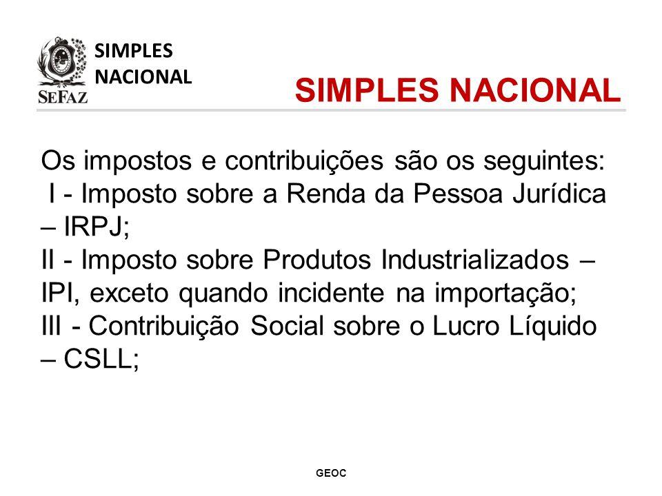 Os impostos e contribuições são os seguintes: IV - Contribuição para o Financiamento da Seguridade Social – Cofins, exceto quando incidente na importação; V - Contribuição para o PIS/Pasep, exceto quando incidente na importação; SIMPLES NACIONAL SIMPLES NACIONAL GEOC