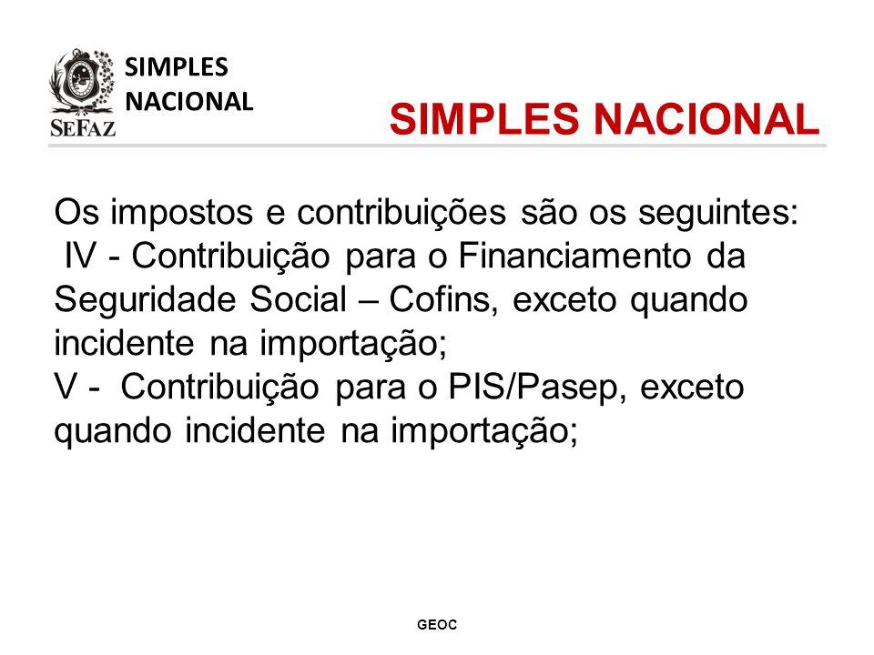 Os impostos e contribuições são os seguintes: VI - Contribuição para a Seguridade Social, a cargo da pessoa jurídica, de que trata o art.