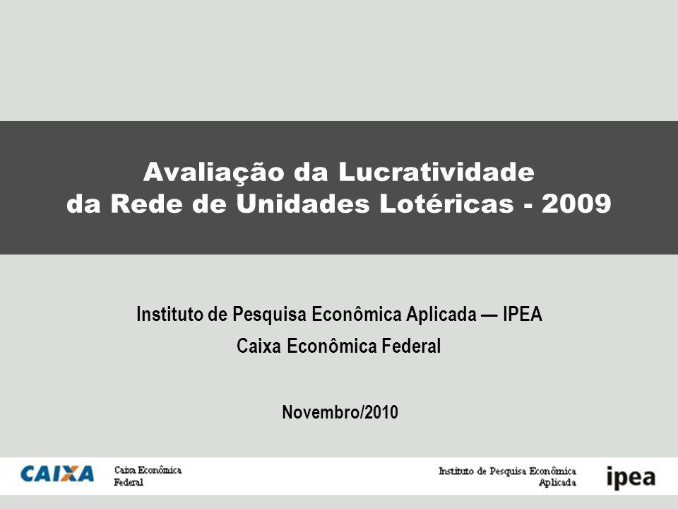 IPEA / CAIXA Avaliação da lucratividade das Unidades Lotéricas Agosto/2010 Objetivos da avaliação de lucratividade das Unidades Lotéricas Permitir à CAIXA aprimorar sua política de remuneração e de assistência às lotéricas.