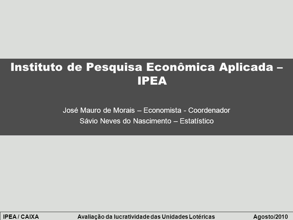Instituto de Pesquisa Econômica Aplicada – IPEA José Mauro de Morais – Economista - Coordenador Sávio Neves do Nascimento – Estatístico IPEA / CAIXA A