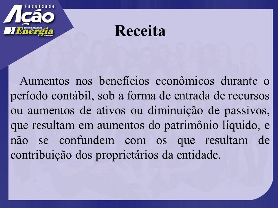 Aumento nos benefícios econômicos.Durante o período contábil.