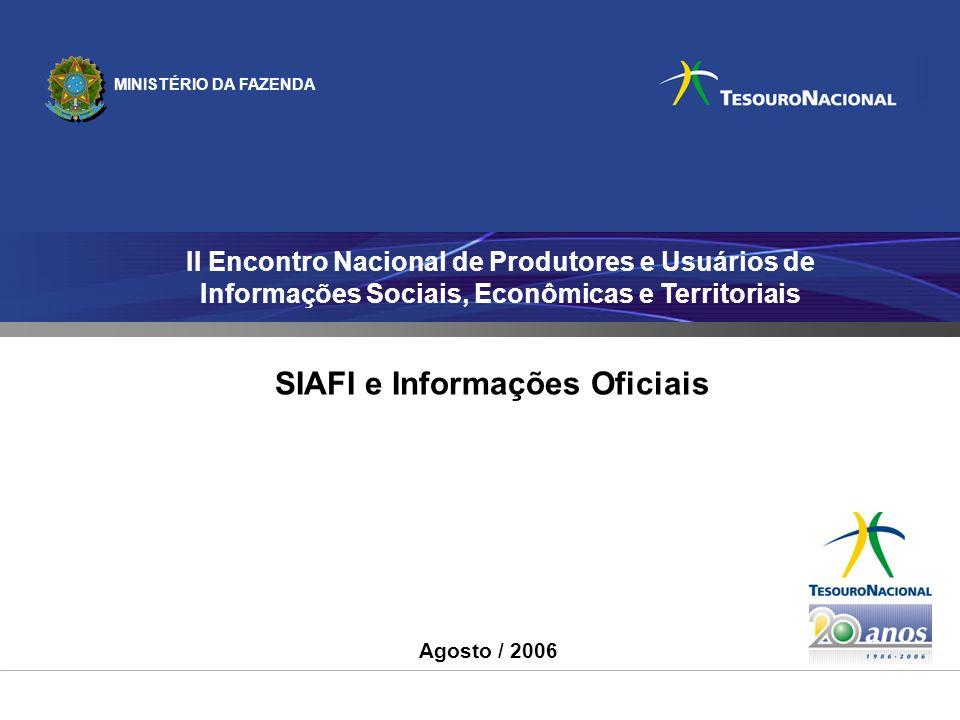 MINISTÉRIO DA FAZENDA II Encontro Nacional de Produtores e Usuários de Informações Sociais, Econômicas e Territoriais Agosto / 2006 SIAFI e Informaçõe