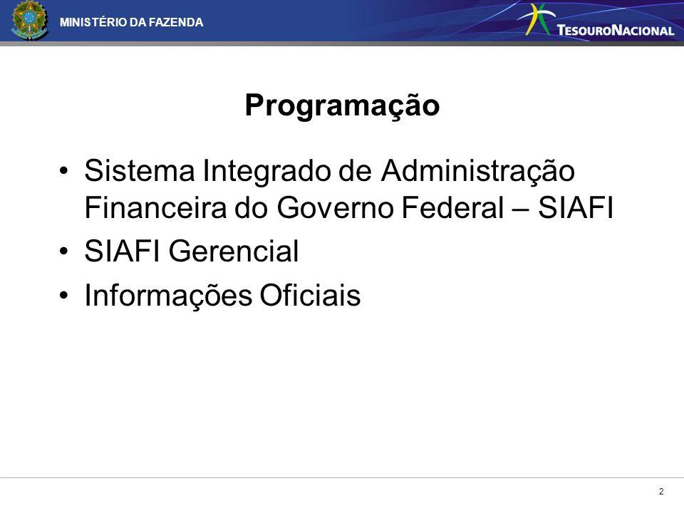 2 Programação Sistema Integrado de Administração Financeira do Governo Federal – SIAFI SIAFI Gerencial Informações Oficiais