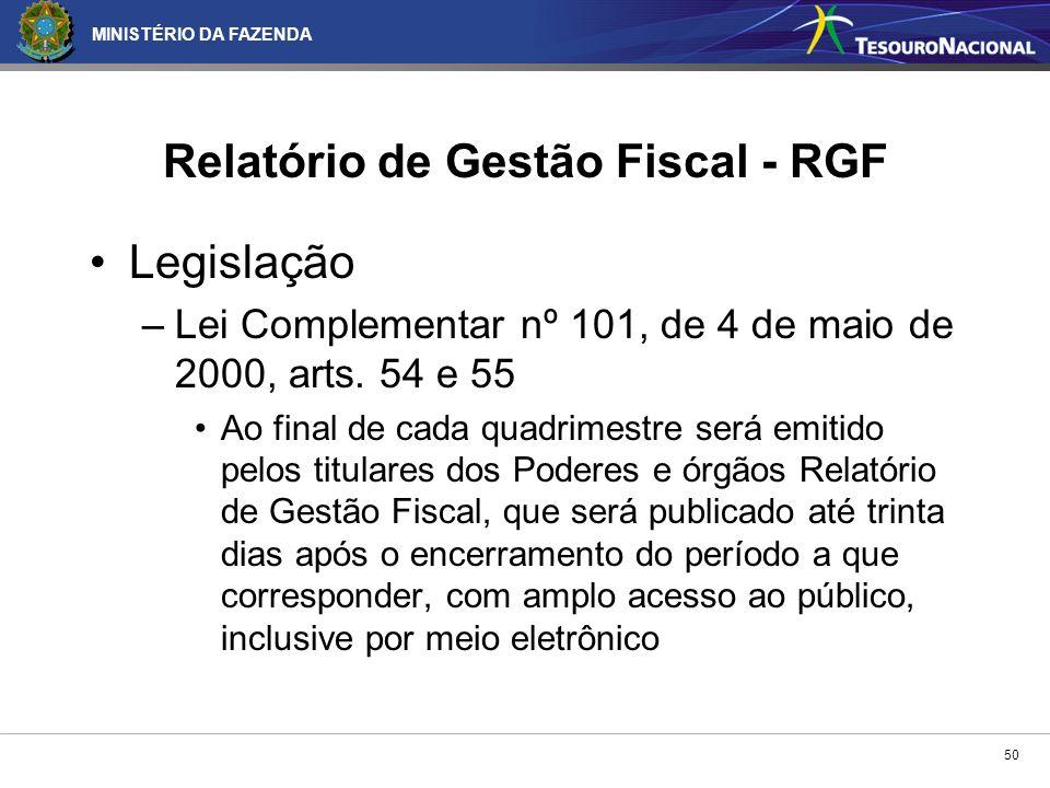 MINISTÉRIO DA FAZENDA 50 Legislação –Lei Complementar nº 101, de 4 de maio de 2000, arts. 54 e 55 Ao final de cada quadrimestre será emitido pelos tit