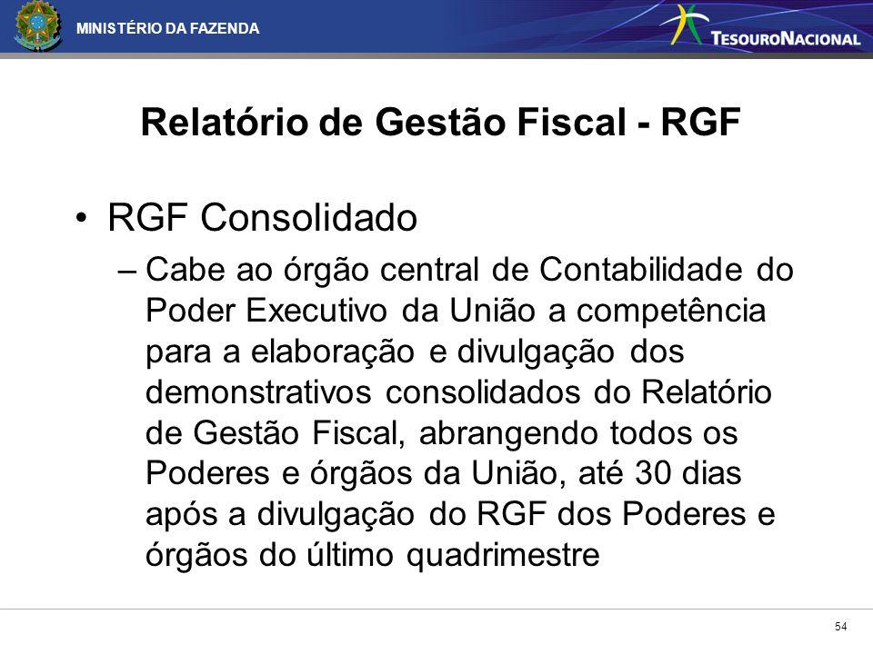 MINISTÉRIO DA FAZENDA 54 Relatório de Gestão Fiscal - RGF RGF Consolidado –Cabe ao órgão central de Contabilidade do Poder Executivo da União a compet