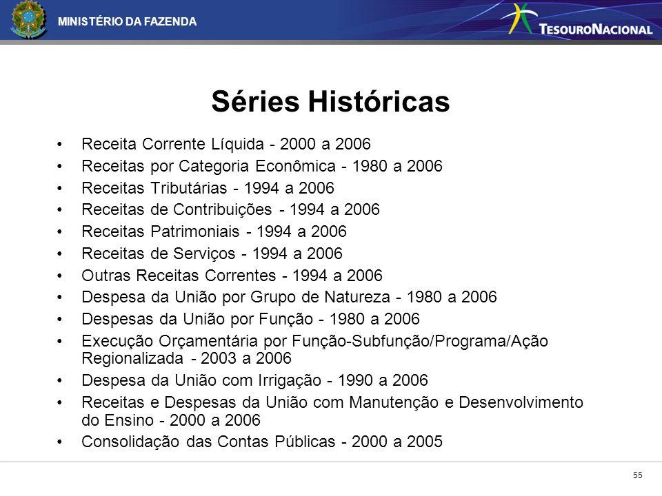 MINISTÉRIO DA FAZENDA 55 Receita Corrente Líquida - 2000 a 2006 Receitas por Categoria Econômica - 1980 a 2006 Receitas Tributárias - 1994 a 2006 Rece