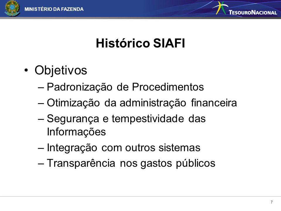 MINISTÉRIO DA FAZENDA 7 Histórico SIAFI Objetivos –Padronização de Procedimentos –Otimização da administração financeira –Segurança e tempestividade d